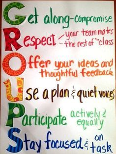 Teach Your Child to Read - Anchor charts for classroom management-group work - Give Your Child a Head Start, and.Pave the Way for a Bright, Successful Future. 5th Grade Classroom, Classroom Rules, Classroom Posters, Classroom Design, Science Classroom, Classroom Organization, Classroom Ideas, Future Classroom, Preschool Learning