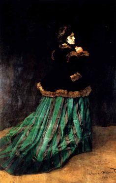 モネ 「カミーユ、緑衣の女」 1866   231x151cm   ドイツ、ブレーメン美術館