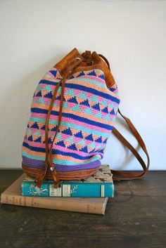 vintage woven backpack  PASTEL crochet and leather by MsTips, $29.00 Inspiration