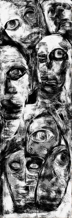 """Minneapolis Twits"" By Ruth Clotworthy Original Paintings, Original Art, Macabre Art, Funky Art, Wow Art, Black And White Drawing, Portraits, Medium Art, Figurative Art"