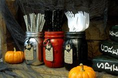 Halloween Hostess Gift Set or Holiday Gift Giving set of 3 pint size painted mason jars with cute paper tags, halloween party decor by PineknobsAndCrickets on Etsy https://www.etsy.com/listing/204701893/halloween-hostess-gift-set-or-holiday