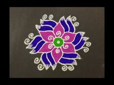 Simple Rangoli Design with Colours for Festivals and Competitions with dots Rangoli Designs Latest, Rangoli Designs Flower, Rangoli Border Designs, Small Rangoli Design, Rangoli Patterns, Rangoli Ideas, Rangoli Designs Diwali, Rangoli Designs Images, Rangoli Designs With Dots