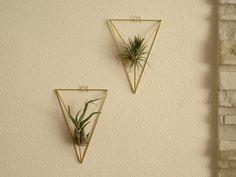 Wall hanger air plant | himmeli diamond mobiele | geometrische mobiele | Gouden houder planter | moderne kunst sculpture | geometrische muur terrarium