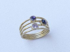 Purple  stone ring.3 stone ring. Multi stone ring. Rings for