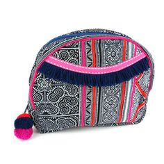 Hmong Batik Cosmetic Bag Indigo - Global Groove (P) ➤ USD Traditional Hmong hill tribe batiked cotton with an easy-wipe and waterproof lining. 8 inches by 9 inches. Large Cosmetic Bag, Travel Cosmetic Bags, Hmong People, Batik Pattern, Embroidered Bag, Fair Trade, Jewelry Shop, Handmade Jewelry, Navy And White