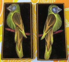 VTG 1970s Retro Groovy String & Nail Wood BIRDS PARROTS Wall Art Plaques 2ct