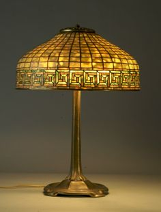 Antique Tiffany Glass Lamps | period tiffany studios greek key leaded dichroic glass lampshade on ...