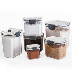 Progressive™ 5 lb. Flour Prokeeper in White/Grey   Bed Bath & Beyond Flour Storage Container, Sugar Container, Airtight Food Storage Containers, Container Store, Food Containers, Bread Storage, Storage Sets, Thing 1, Kitchen Pantry