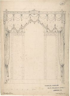 Design for a Wall with Three Windows. Charles Hindley and Sons, British, London