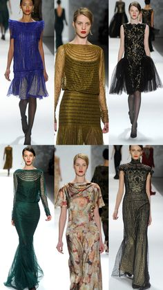 Love the green and the gold here. Slinky and elegant. I wonder what those lines would do to broad shoulders?