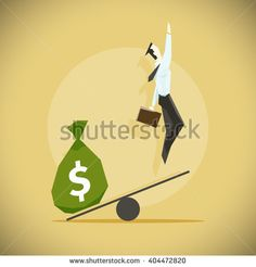 Business startup concept. Vector illustration with a businessman flying up and a bag full of money.