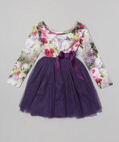Loving this Designer Kidz Purple Indiana Floral Tutu Dress - Infant, Toddler & Girls on #zulily! #zulilyfinds