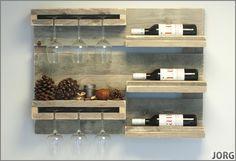 Wandbord wijnrek van oud of nieuw steigerhout L80xH60cm voorraad artikel (161120151344)