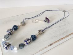 Navy, Silver Beaded Yarn Necklace Set on Etsy, $28.00