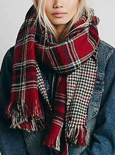Double Sided Scarf #plaid #red #winter
