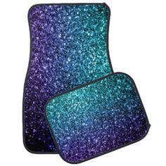 Aqua Blue Ombre glitter sparkles Car Floor Mat