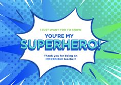 Thank a SUPER teacher with this awesome E-Card presented by SchoolMint for Teacher Appreciation Week! #ThankaSUPERTeacher #acknowledgemints #SchoolMint #TeacherAppreciationWeek #TeachersAreHeroes #ThankaTeacher #Ecard My Superhero, Teacher Appreciation Week, Screen Shot, Presents, The Incredibles, School, Awesome, Cards, Gifts