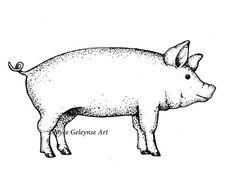 Show Pig Applique Machine Embroidery Design INSTANT