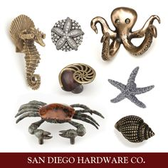 Coastal / Ocean / Beach Themed Cabinet Hardware || Starfish Knob, Seahorse Pull, Crab Pull, Shell Knob, and Octopus Hook.