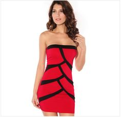 Sexy splice contrast color tube dresses fashion dresses clothing