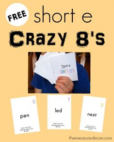 Free printable Crazy 8's-  help kids learn to read the short e word families!