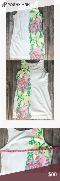 🎀 Gorgeous Lilly Pulitzer dress 🎀 💕 Gorgeous Lilly Pulitzer dress with floral print on the side, very unique and so beautiful 😍, size 16 please see pictures with measurements 💕 Lilly Pulitzer Dresses Mini