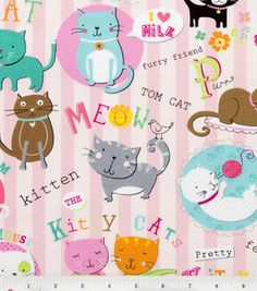 Novelty Quilt Fabric - Cutie Kitty Pink