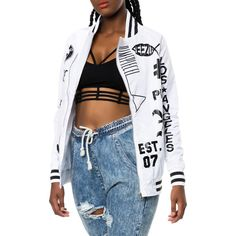 Dimepiece LA The Verbiage Varsity Jacket in White ($42) ❤ liked on Polyvore featuring outerwear, jackets, white and dimepiece