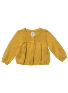 2 Button cardigan with gathers at front and back yoke seam and fully fashioned armholes