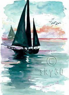 "Watercolor Print: ""Sunset Sails"""