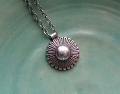 Sterling Silver Concho Necklace with Antiqued Finish. $35.00, via Etsy.
