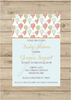 Hot Air Balloon Baby Shower Invitation  Hot by SharingAPassionINC, $12.00