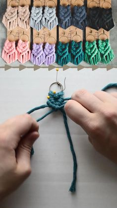 supplies and online instructions for making your own macrame earrings Diy Earrings Kit, Diy Macrame Earrings, Macrame Jewelry, Fabric Jewelry, Macrame Knots, Earrings Handmade, Handmade Jewelry, Fabric Earrings, Handmade Art
