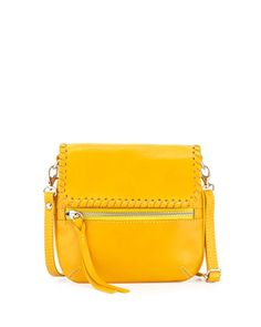 Whipstitch-Trim Crossbody Bag, Yellow by Neiman Marcus Made in Italy at Neiman Marcus Last Call.