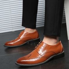 Luxury Genuine Leather Men Shoes Dress Summer Casual Oxfords Breathable Lace up Flats Leather Brogues, Leather Men, Oxfords, Casual Summer Dresses, Dress Summer, Men's Shoes, Dress Shoes, Lace Up Flats, Oxford Shoes