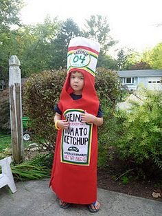 My son wanted to be ketchup this Halloween. #Halloween #costume