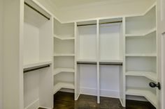 U shaped with shelves in corners Master Closet Design, Custom Closet Design, Walk In Closet Design, Master Bedroom Closet, Closet Designs, Bedroom Closets, Master Suite, Shoe Shelf In Closet, Closet Organizer With Drawers