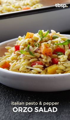 A quick and delicious salad thats full of peppers, pesto and orzo pasta, this one's a game changer when it comes to potluck sides. Expert tip: In a hurry? Remember to allow yourself one hour of fridge time before you serve this salad!