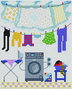 laundry cross-stitch pattern
