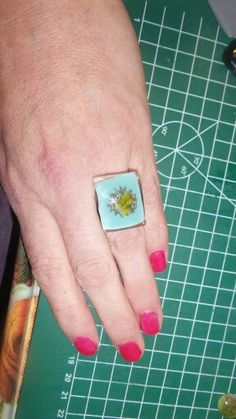 glass ring with copper inclusion