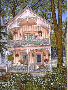 Winter Gallery - Artist Thelma Winter - Thumbelina I - Chautauqa NY (Powered by CubeCart) Cottage In The Woods, Cozy Cottage, Cottage Homes, Building Rendering, Cartoon House, Barn Art, Cute House, Pink Houses, Small House Design