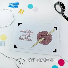 'Smitten With Knittin' Card / Print