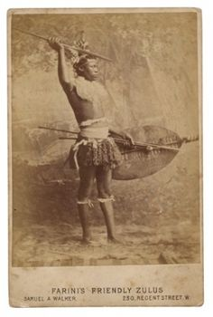 This man was brought to Britain with a Zulu troupe during the Anglo-Zulu War of 1879 and was part of explorer Guillermo Antonio Farini's exhibition of 'Friendly Zulus' in London, 1879. Photograph: Courtesy of Michael Graham Stewart collection.