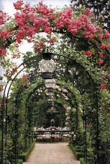 Allee of Roses Gatden Outdoor Dining Area - Caroline Scheufele Garden, Veranda Magazine
