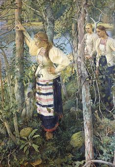 Neiet niemien nenissä Pekka Halonen oil 1895 - The rekko dresses, typical national dresses of Finnish Karelian counties Scandinavian Paintings, Scandinavian Art, Moritz Von Schwind, Helene Schjerfbeck, Inspiration Art, Nordic Art, Illustration Art, Illustrations, Chur
