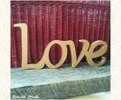 LOVE  Wooden Word Sign Decor   Gold Finish  by EclectikKrafts, $29.00