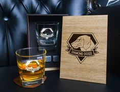 Metal Gear Solid fans - Diamond Dogs - Coaster and glass and 3 whiskey stones in personalized wood box - Personalized whiskey gift set . Disney Wedding Gifts, Whiskey Gift Set, Diamond Dogs, Leather Coasters, Beer Bottle Opener, Personalized Coasters, Italian Leather, Real Leather, Best Gifts For Men