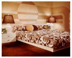 Better Homes and Gardens Brown Stripe Bedroom 60s Bedroom, Mid Century Modern Bedroom, Bedroom Vintage, Bedroom Decor, Bedroom Ideas, Bedrooms, Warm Bedroom, Bedroom Inspiration, Design Inspiration