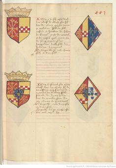 Coat of arms of John I, Duke of Cleves and of Elizabeth of Nevers. Upper. Receuil de la généalogie de la noble maison de Luxembourg.