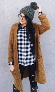 Mustard Cardigan // Grey Beanie // Checked Shirt // Ripped Jeans                                                                             Source